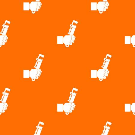 Hacksaw in man hand pattern repeat seamless in orange color for any design. Vector geometric illustration Illustration