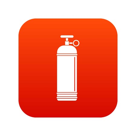 Compressed gas container icon digital red Illustration