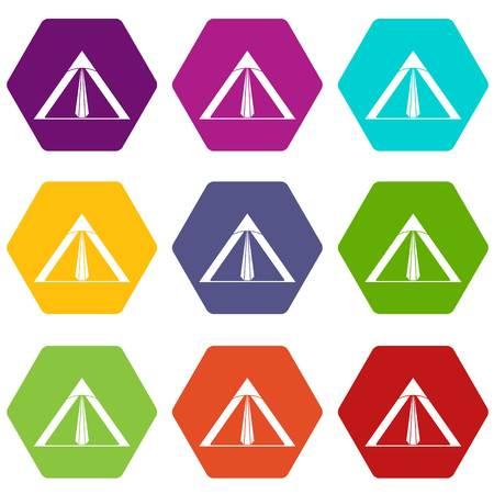 Tent icon set color hexahedron