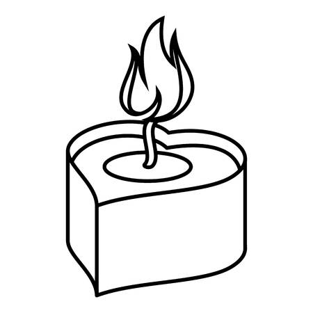 Heart candle icon, outline style