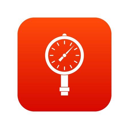 Manometer or pressure gauge icon digital red Illustration