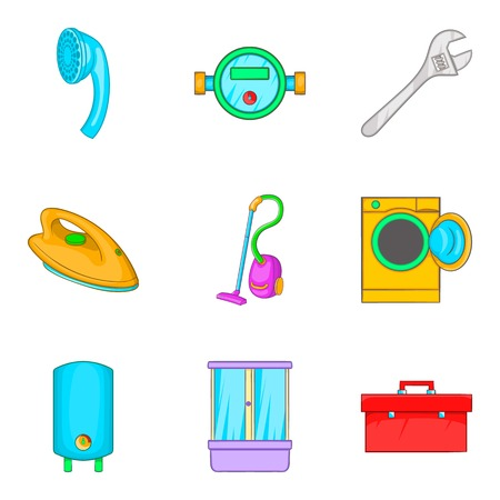 civil construction: Master icons set. Cartoon set of 9 master vector icons for web isolated on white background