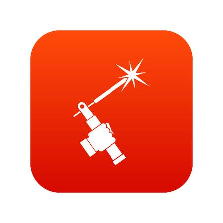 welding torch in hand icon digital red for any design isolated on white vector illustration