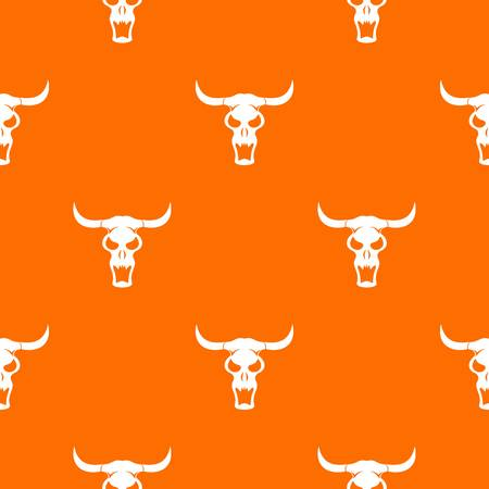 midwest: Buffalo skull pattern repeat seamless in orange color for any design. Vector geometric illustration