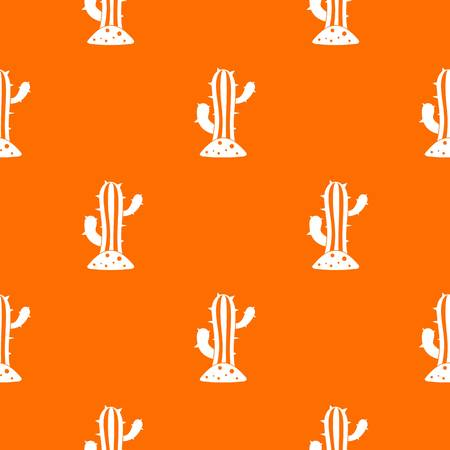 Cactus pattern repeat seamless in orange color for any design. Vector geometric illustration Illustration