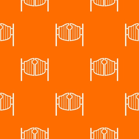 Vintage western swinging saloon doors pattern repeat seamless in orange color for any design. Vector geometric illustration Illustration