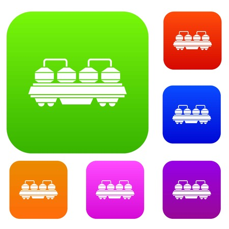 freight train: Rail wagon for construction materials set icon in different colors isolated vector illustration. Premium collection Illustration