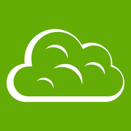 vapore acqueo: Big cloud icon white isolated on green background. Vector illustration Vettoriali