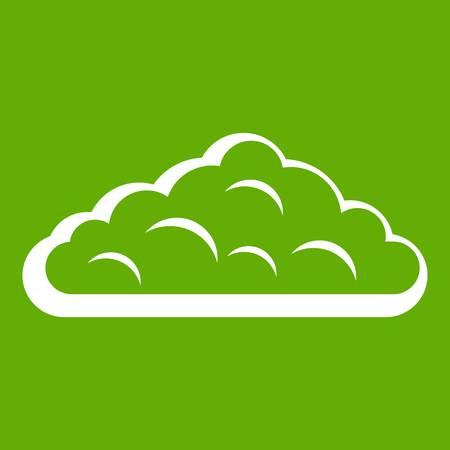 rainy season: Wet cloud icon white isolated on green background. Vector illustration