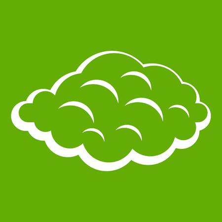 Small cloud icon white isolated on green background. Vector illustration