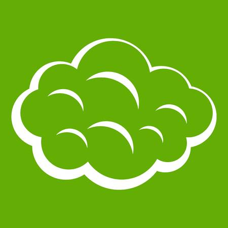Summer cloud icon white isolated on green background. Vector illustration