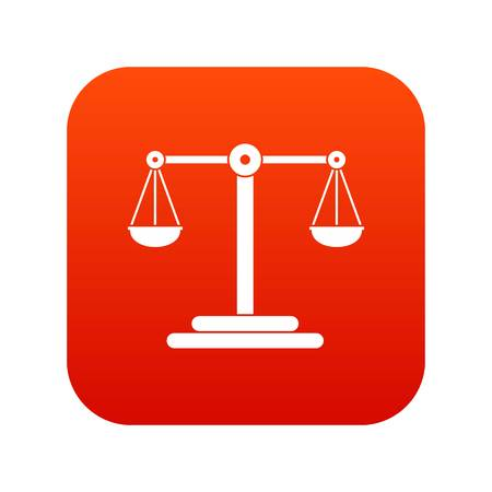 Scales balance icon digital red
