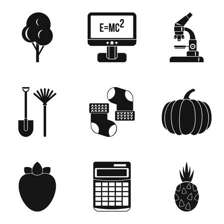 Microcosm icons set, simple style