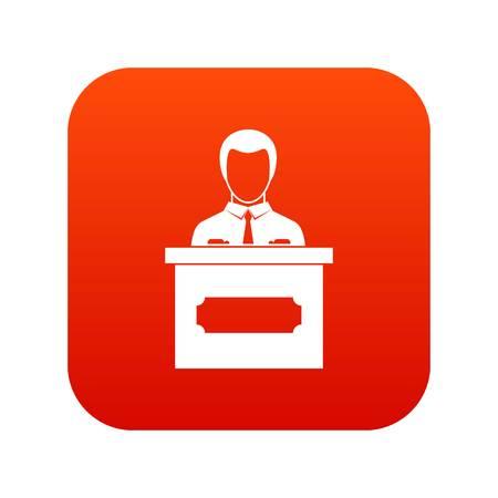 Businessman giving presentation icon digital red