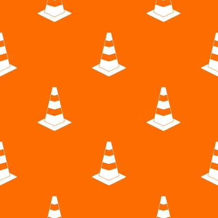 Traffic cone pattern repeat seamless in orange color for any design. Vector geometric illustration