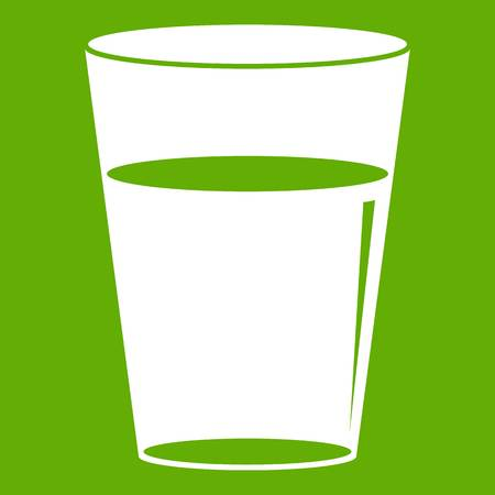 Glass water icon white isolated on green background. Vector illustration Illustration