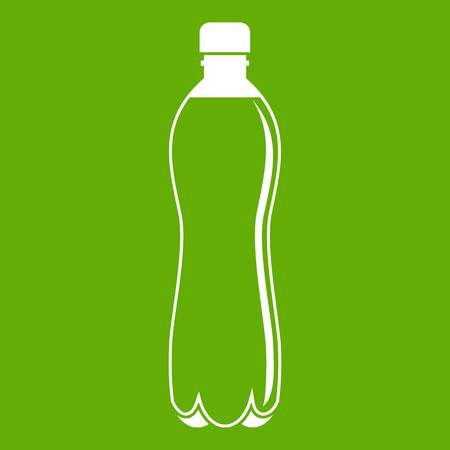 Water bottle icon white isolated on green background. Vector illustration
