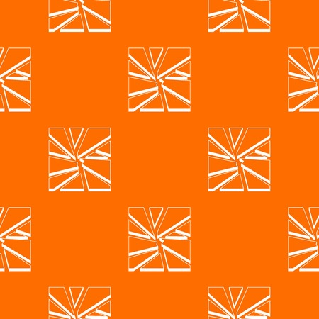Broken glass pattern repeat seamless in orange color for any design. Vector geometric illustration