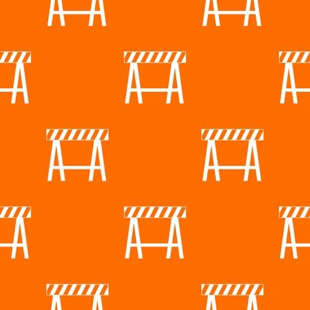 Traffic barrier pattern repeat seamless in orange color for any design. Vector geometric illustration