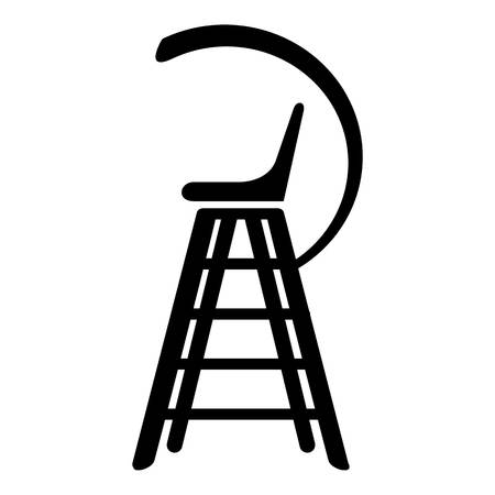 umpire: Tennis referee chair icon, simple black style Illustration