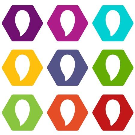 Almond nut icon set color hexahedron