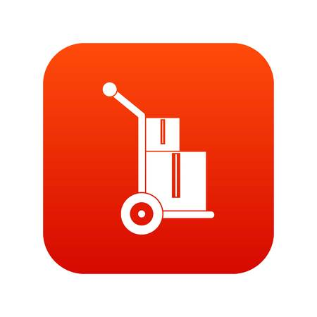 Truck with boxes icon digital red Illustration