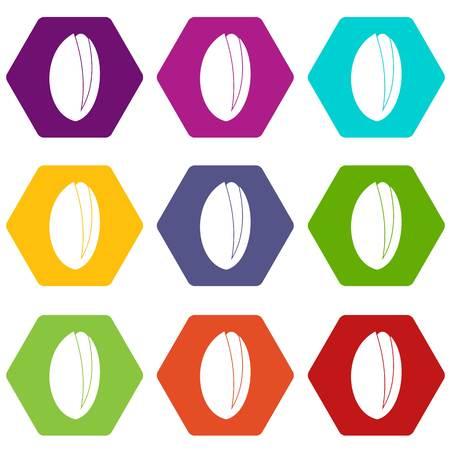 Pistachio nut icon set color hexahedron Illustration