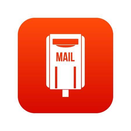 Post box icon digital red Illustration