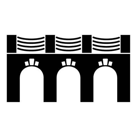 Old arch bridge icon, simple black style