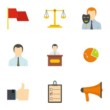 Law icons set, flat style