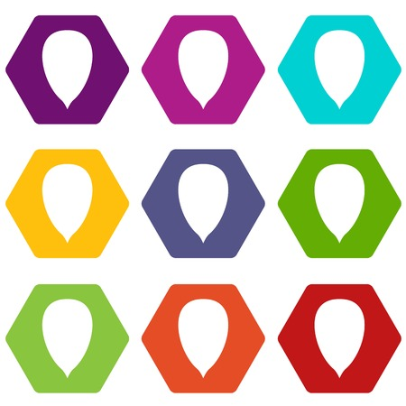 Apricot seed icon set color hexahedron
