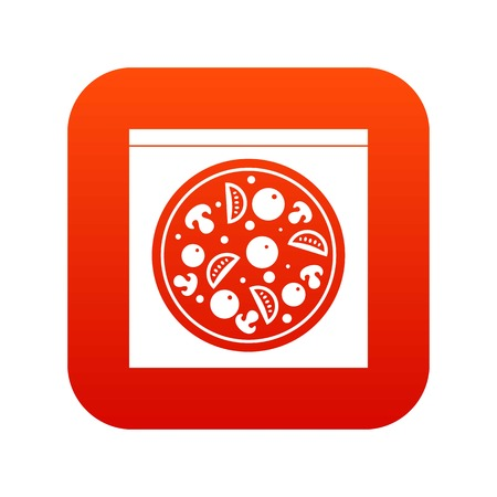 Pizza with salami, mushrooms, tomatoes icon digital red Illustration