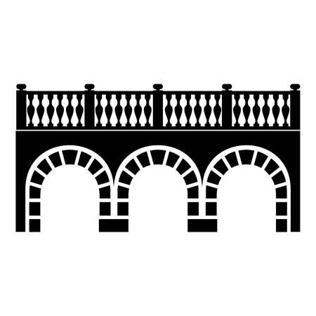 Arch bridge icon, simple black style