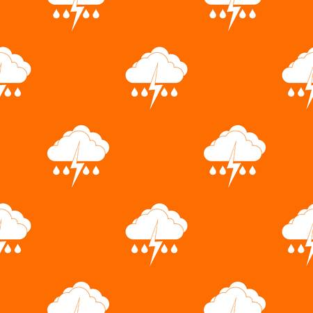 Cloud with lightning and rain pattern repeat seamless in orange color for any design. Vector geometric illustration
