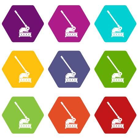 Schneidemaschine Symbol gesetzt viele Farbe Hexaeder isoliert auf weißem Vektor-Illustration Vektorgrafik