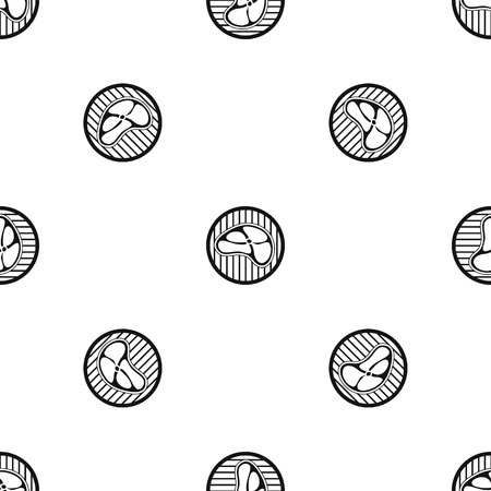 Steak pattern repeat seamless in black color for any design. Vector geometric illustration