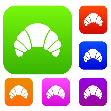 Croissant set icon in different colors isolated vector illustration. Premium collection