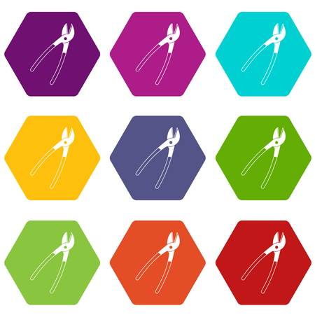Metal shears icon set many color hexahedron isolated on white vector illustration Illustration