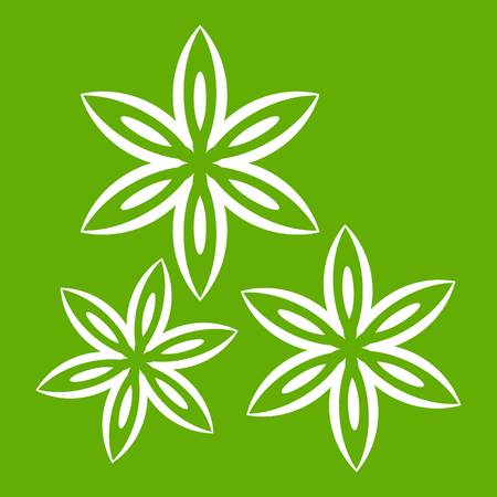 Star anise icon white isolated on green background. Vector illustration
