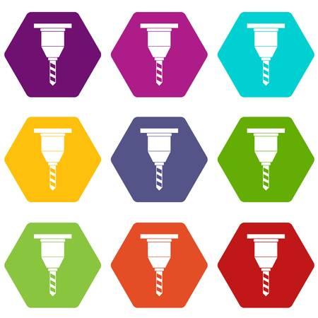 Drill bit icon set many color hexahedron isolated on white vector illustration