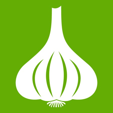 cloves: Garlic icon white isolated on green background. Vector illustration