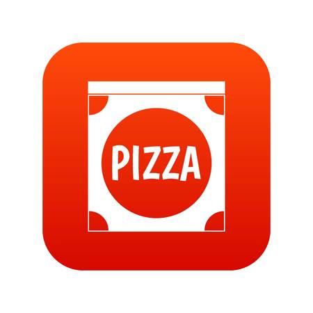 Pizza box cover icon digital red for any design isolated on white vector illustration Illustration