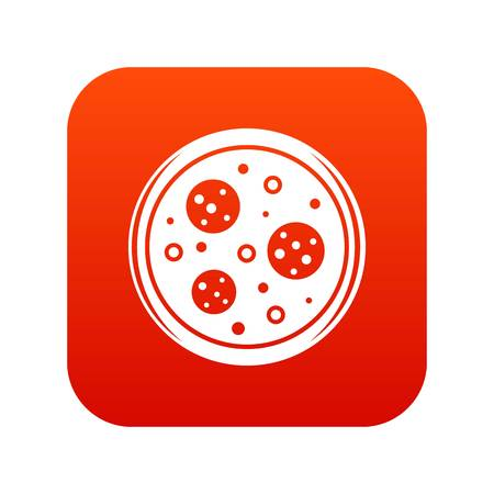 Tasty pizza with sausage and olives icon digital red Illustration