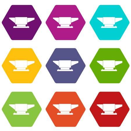 Anvil icon set color hexahedron