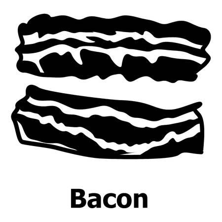 crunchy: Bacon icon, simple black style Illustration