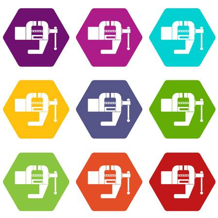 Vise tool icon set color hexahedron