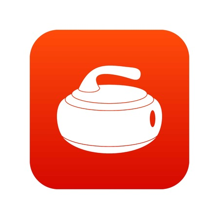 Curling stone icon digital red