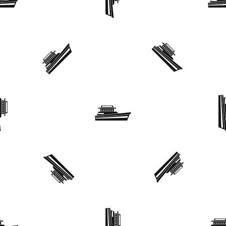 素晴らしいパワーボート パターン シームレス ブラック  イラスト・ベクター素材