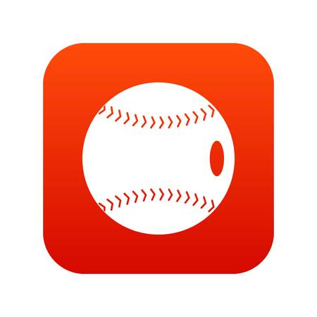 Baseball ball icon digital red