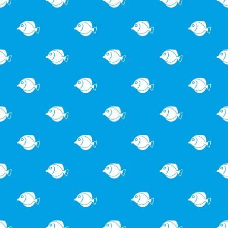 Tang fish, Zebrasoma flavescens pattern seamless blue